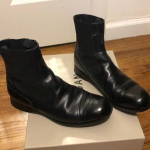 Black leather flat boots
